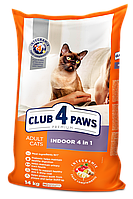 Клуб 4 лапы Премиум индур 4в1 - корм для кошек  14кг