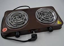 Спиральная электроплита на две конфорки с регулятором мощности коричневого цвета DOMOTEC MS-5802, фото 2