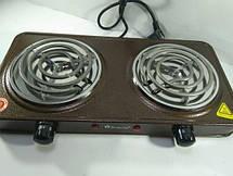 Спиральная электроплита на две конфорки с регулятором мощности коричневого цвета DOMOTEC MS-5802, фото 3