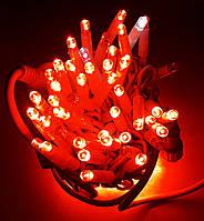 Уличная Светодиодная Гирлянда Нить на Белом Проводе 100L Красная с Мерцанием, фото 1