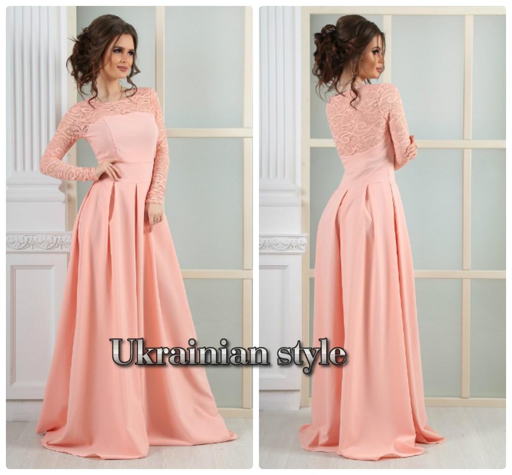 e39dc6dad543 Персиковое вечернее платье в пол с гипюром  продажа, цена в Одессе ...