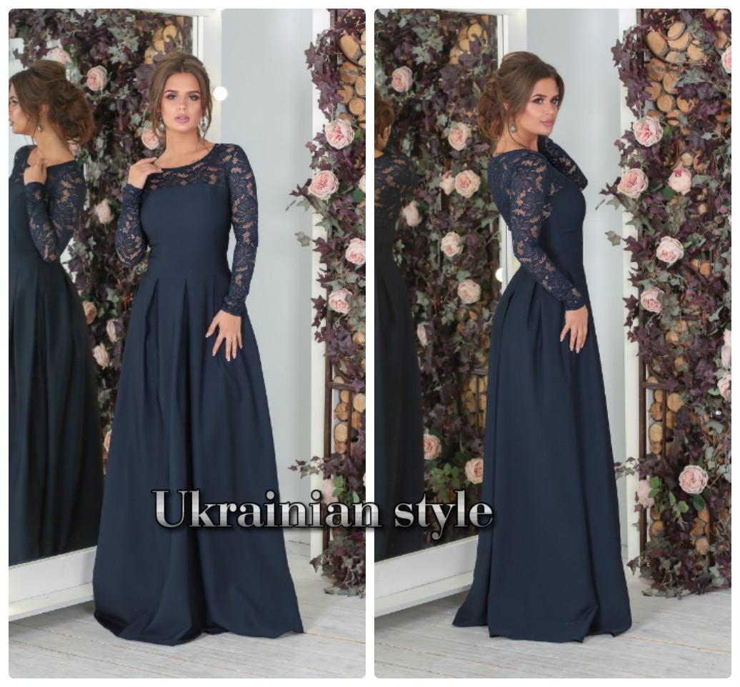 3290cb59253 Роскошное вечернее платье в пол с гипюром. 3 цвета! - Интернет-магазин