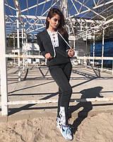 Спортивный костюм со шнуровкой на флисе. Графит. 7012.4 MK