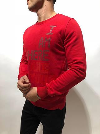 Свитшот мужской красный с принтом, фото 2