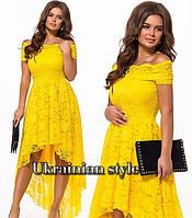 Гипюровое вечернее асимметричное платье. 7 цветов!, фото 1