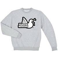Світшот сірий Peaceful Hooligan logo | стильна Кофта
