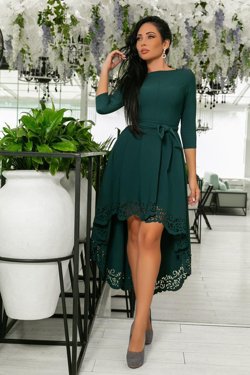 4d91570e7e7 Платье с Перфорацией и Поясом. Изумрудное