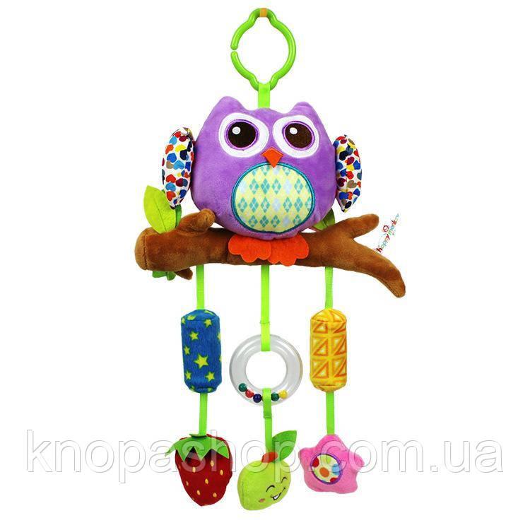 Фиолетовая сова. Игрушки с музыкой ветра,колокольчики. Подвески с погремушками Happy monkey