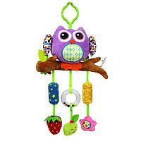 Фиолетовая сова. Игрушки с музыкой ветра,колокольчики. Подвески с погремушками Happy monkey, фото 1