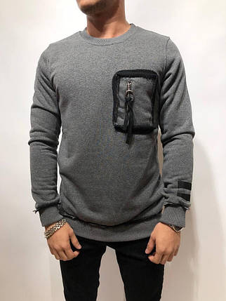 Свитшот мужской серый с карманом на груди, фото 2