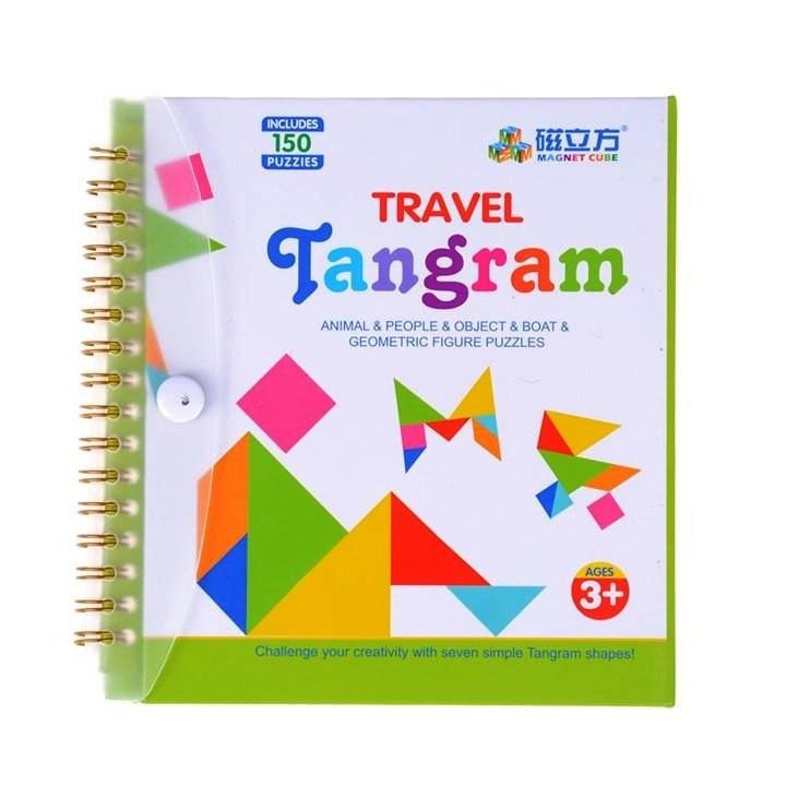 Танграм (Tangram) Дорожня магнітна гра головоломка 150 завдань