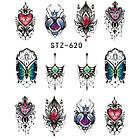 Наклейки для Ногтей Водные Разноцветные Серия STZ 620, Пластина  6,5 х 5 см, фото 2