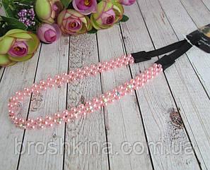 Греческая повязка для волос из бусин и страз розовая