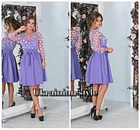 Короткое однотонное вечернее  платье  с вышитым верхом. 3 цвета!, фото 1