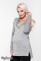Теплая туника для беременных и кормящих SIENA, серый меланж 1, фото 1