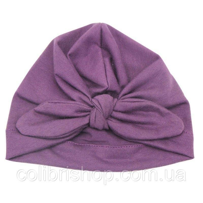 Чалма, солоха, шапочка для девочки демисезонная сиреневая  с узлом