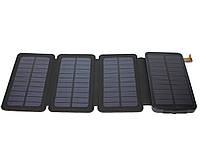 Повербанк 12000 mAh, Solar (5V/200mA), Black, 2xUSB, 5V /1.5A/ 2.1A , LED индикатор, ударо защищеный прорезиненный корпус