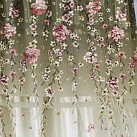 """Ткань атласный блэкаут с принтом """"Фотошторы"""". Высота 2,7м. Цвет оливковый с бежевым. 279ш"""