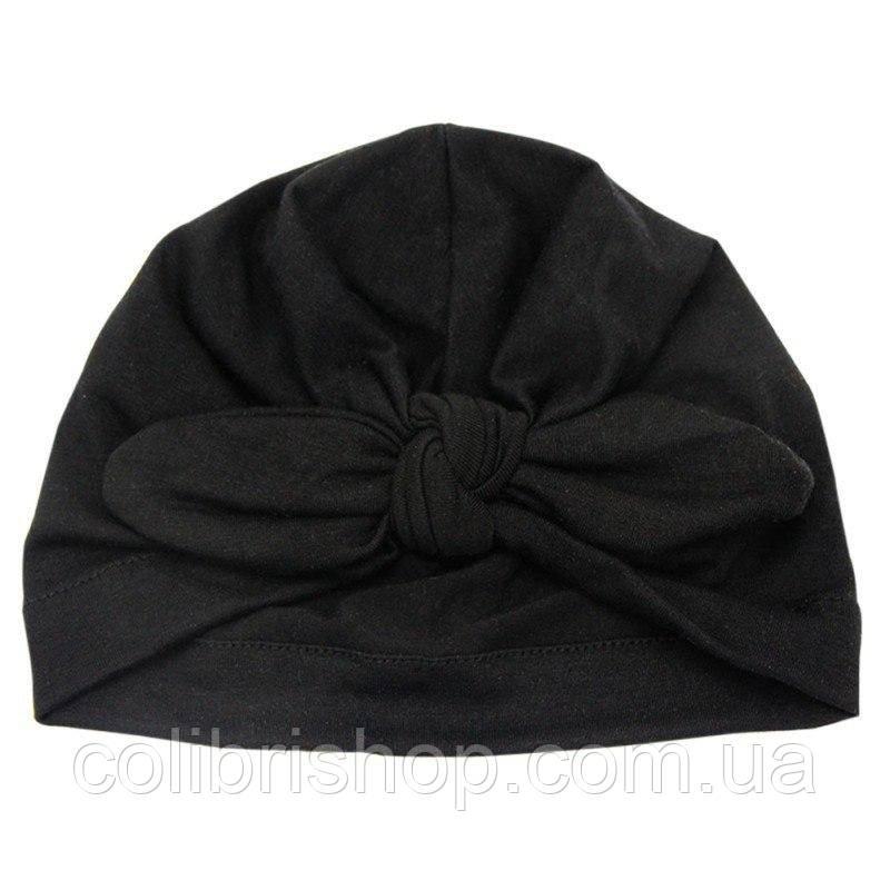 Чалма, солоха, шапочка для девочки демисезонная черная с узлом