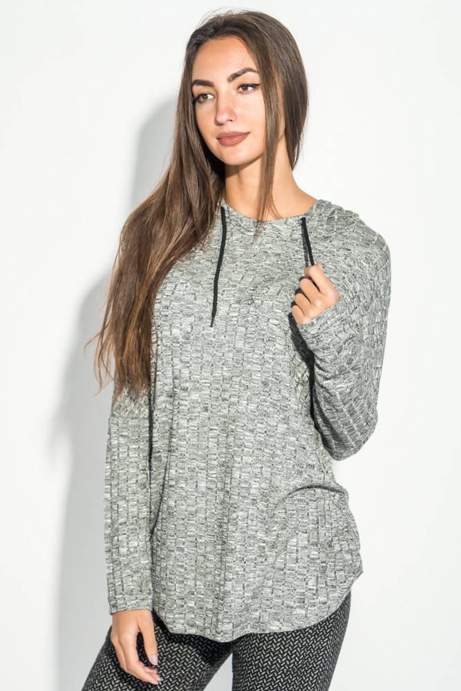 Худи женское стильное 64PD158 (Серый меланж)