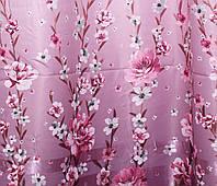 """Ткань атласный блэкаут с принтом """"Фотошторы"""". Высота 2,7м. Цвет розовый. 278ш"""