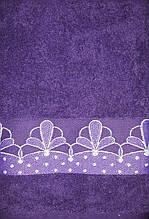 Полотенце махровое 50х90 см Цветок (фиолетовый)