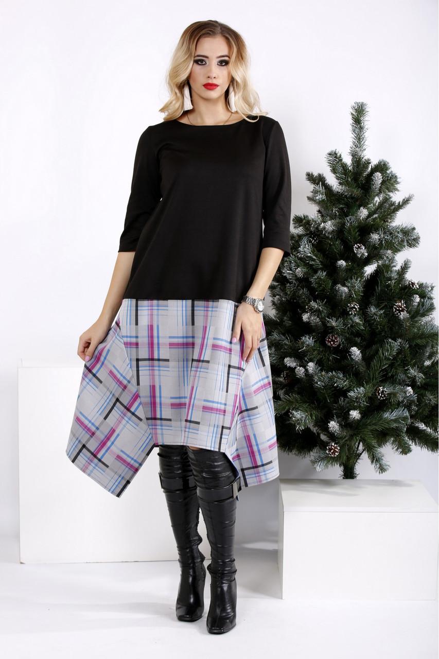 f3ec3ba5638988 Черное свободное платье больших размеров 0967 - V Mode, прямой поставщик  женской одежды в Харькове