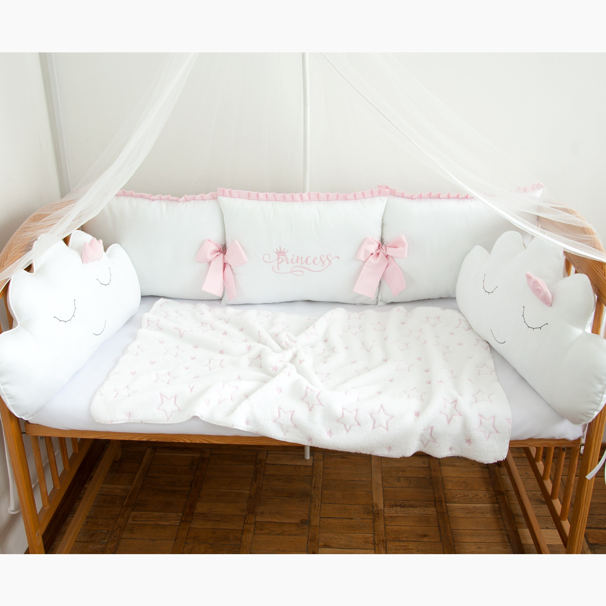 """Бортики в детскую кроватку """"Принцесса"""", сатин"""