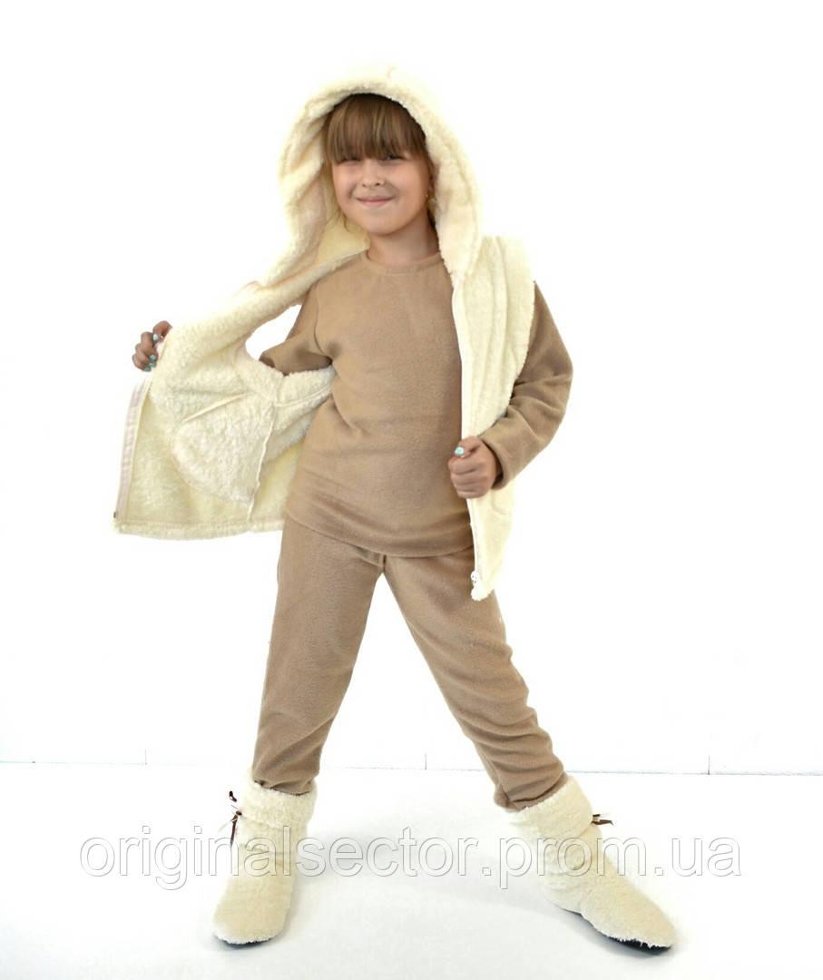 Теплая детская пижама с жилеткой и тапочками