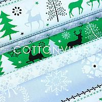 Бязь Зимние мотивы серо-зеленая, фото 1