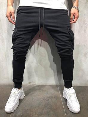 Мужские спортивные штаны с карманами на молнии черные, фото 2