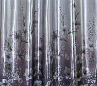 "Ткань атласный блэкаут с принтом ""Фотошторы"". Высота 2,7м. Цвет серый. 250ш"