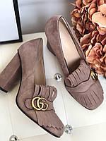 Замшевые туфли Gucci Marmont с пряжкой 10 см каблук (реплика), фото 1