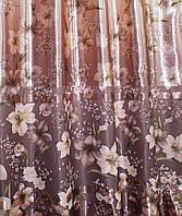 """Ткань атласный блэкаут с принтом """"Фотошторы"""". Высота 2,7м. Цвет коричневый. 251ш"""