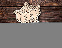Новогодние елочные игрушки из фанеры 2020  (свинка) #81