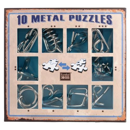 Набор металлических головоломок 10 Metal Puzzle Blue Eureka!