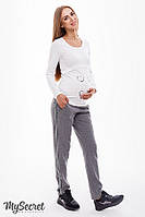 Модные брючки для беременных DOMINICA, серый меланж, фото 1