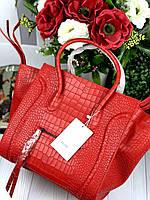 Брендовая женская сумка Celine Fantom натуральная кожа под крокодила (реплика), фото 1