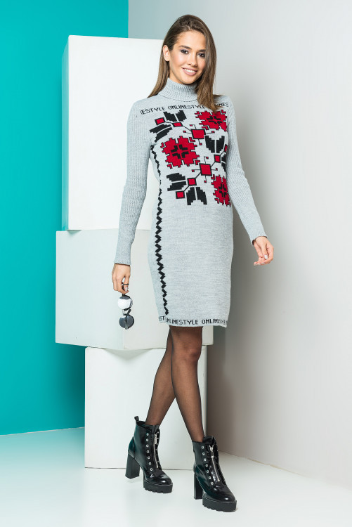 """Вязаное платье стильное """"Дарина"""", серый+красный+черный"""