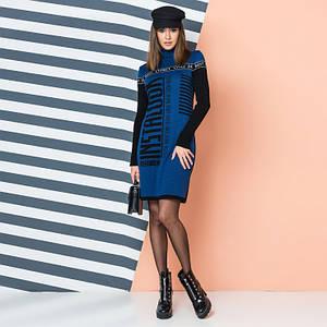 Синее молодежное вязаное платье с контрастной надписью INSTALOOK