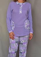 Теплая женская пижама зимняя с начесом хлопковая кофта с брюками Украина