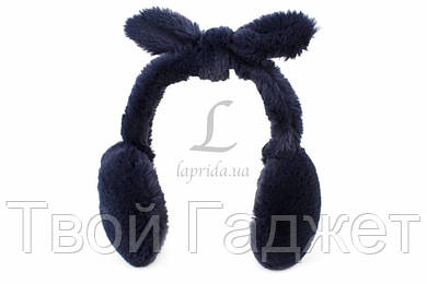 ОПТ/Розница Меховые наушники с бантиком (темно-синие)