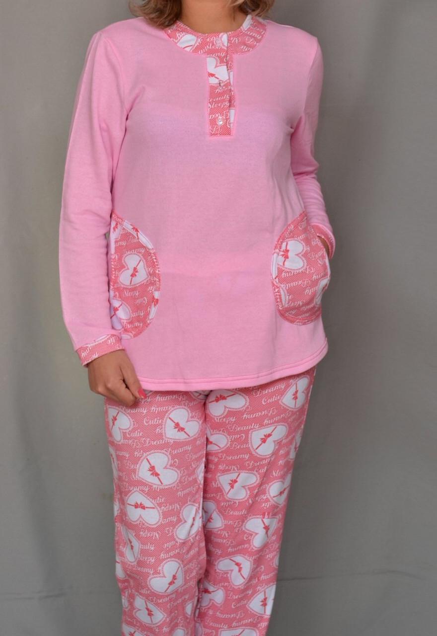 Тепла піжама жіноча зимова домашня бавовняна з начосом трикотажна кофта з брюками