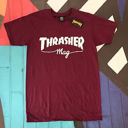Бордовая футболка Thrasher Mag.  люкс