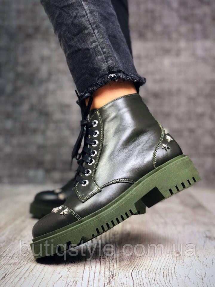 36 размер! Женские ботинки хаки натур.кожа на байке