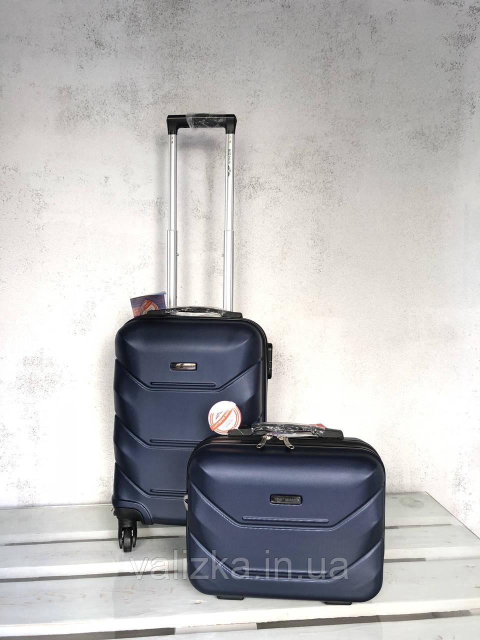 Валізу з полікарбонату на колесах малий для ручної поклажі синю валізу Польща / Валіза з полікарбонату
