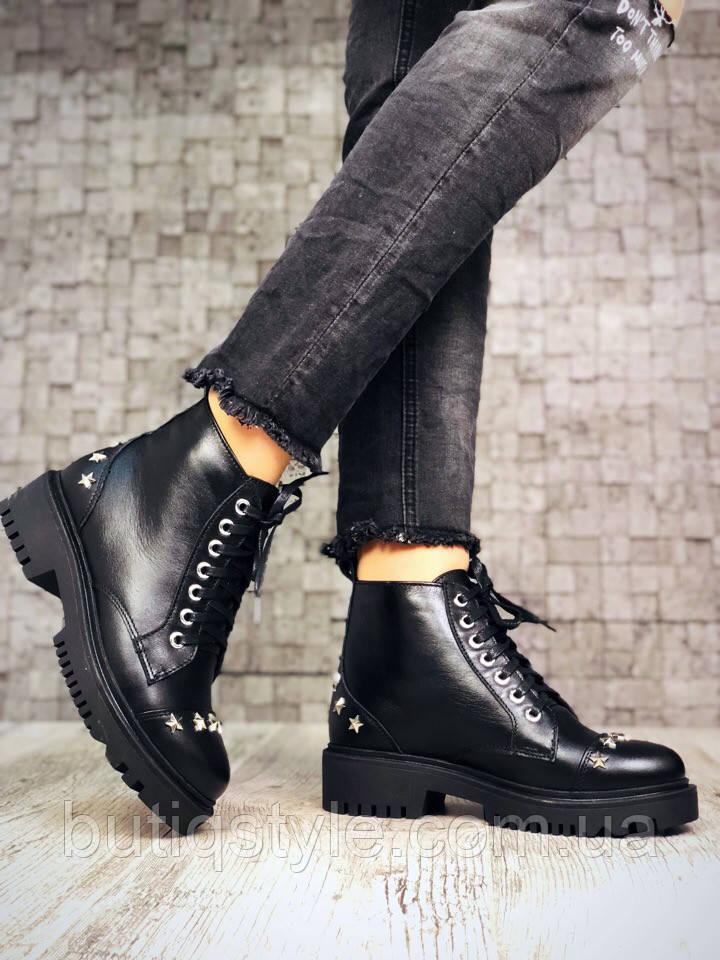 36 размер! Демисезонные черные ботинки на шнуровке,натур.кожа