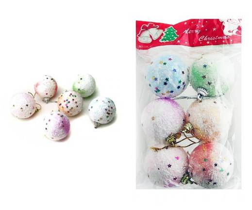 Шары новогодние 4см пена белого цвета с рисунком Звёзды 6 штук в пакете с штрих кодом.