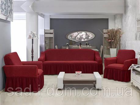 Чехол на диван и два кресла Соты, бордовый