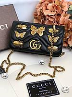 Черная кожаная сумочка  'GG Marmont' от Gucci с заклепками (реплика), фото 1